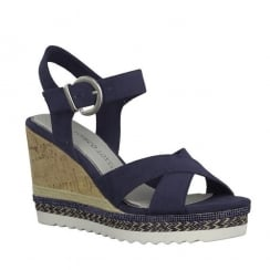 Marco Tozzi Navy Buckle Strap Wedge Heeled Sandals