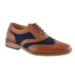 Boys Goor Tan/Navy Brogue