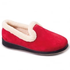 Padders Womens Repose Wide Fit Slippers - Red