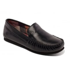 Padders Marino Leather Slipper Black