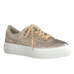 Tamaris Womens Rose Gold Metallic Flat Platform Trainers