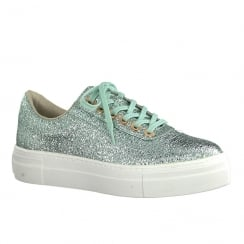 Tamaris Womens Mint Metallic Flat Platform Trainers
