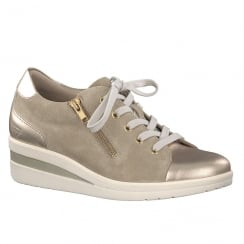 Tamaris Womens Light Beige Gold Wedge Lace Up Shoes