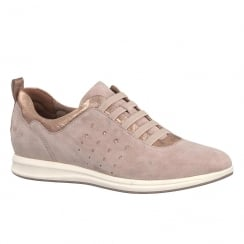 Tamaris Womens Old Rose Leather Lace Up Trainers
