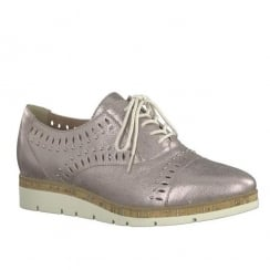 Marco Tozzi Mauve Leather Low Wedge Lace Up Shoes