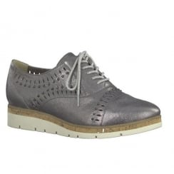 Marco Tozzi Pewter Leather Low Wedge Lace Up Shoes