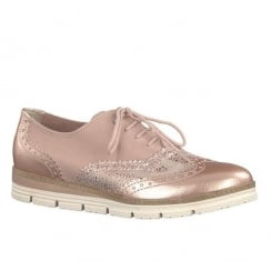 Marco Tozzi Ladies Rose Metallic Brogues