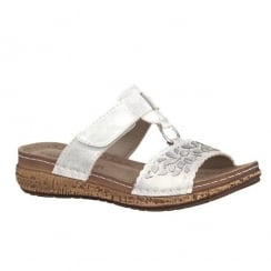 Marco Tozzi White Velcro Slip On Wedge Cork Sandals