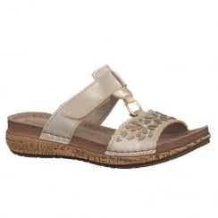 Marco Tozzi Platinum Velcro Slip On Wedge Cork Sandals