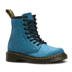 Dr Martens Junior Delaney Blue Glitter Ankle Lace Up Boots
