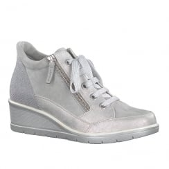 Tamaris Womens Grey Nubuck Wedge Lace Up Trainer with Zip