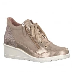 Tamaris Womens Gold Nubuck Wedge Lace Up Trainer with Zip