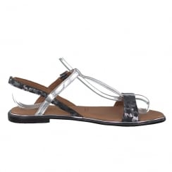 Tamaris Womens Black Silver Slingback Leather Flat Sandals