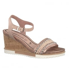 Tamaris Womens Rose Leather Wedge Sandals