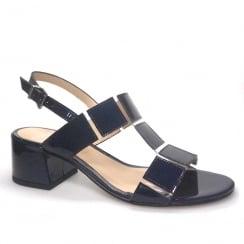 Perlato Black Patent Low Block Heel Sandals