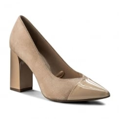 Caprice Beige Leather Block Heel Pointed Courts