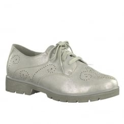 Soft Line Womens White/Silver Lace Up Brogue Shoes