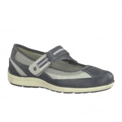 Soft Line Womens Blue Adjustable Velcro Trainers Shoes
