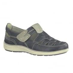 Soft Line Womens Blue Adjustable Velcro Shoes