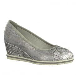 Tamaris Womens Steel/Grey Wedge Heeled Pumps