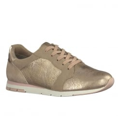 Tamaris Womens Rose Gold Lace Up Shoes