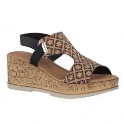 Tamaris Womens Brown Cork Wedge Sandals