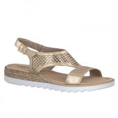 Tamaris Womens Gold Metallic Slingback Flat Sandals