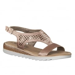 Tamaris Rose Metallic Slingback Flat Sandals