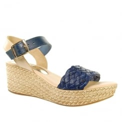 Adesso Womens Abigail Navy Wedge Heeled Sandals - A4241