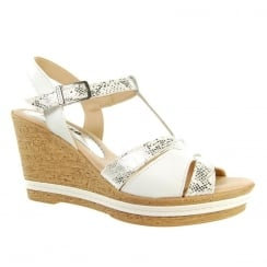 Adesso Womens Tamsin White Wedge Heeled T-Bar Sandals - A4250