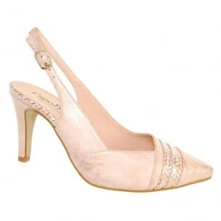 Capollini Womens Lynette Blush Rose Slingback Pointed Heels