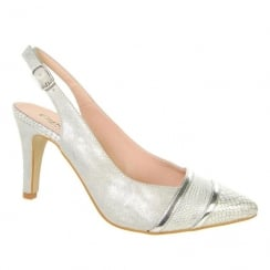 Capollini Womens Elisse Silver Slingback Pointed Heels - C528