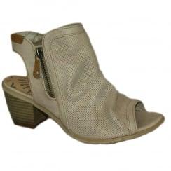Mustang Women's Ivory Low Heel Peep-Toe Summer Boot