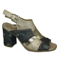 Mustang Ivory Slingback Strap Block Heeled Sandals
