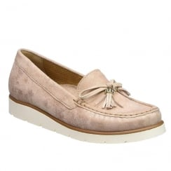 Gabor Ladies Isabelle Rose Metallic Leather Loafer Moccasin