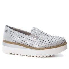 XTI Womens Grey Metallic Platform Wedge Slip On Shoes