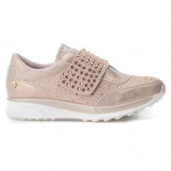 XTI Womens Nude/Blush Velcro Rhinestone Shoes