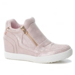 XTI Womens Nude/Blush Suede Concealed Wedge Trainers