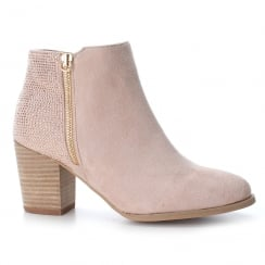 XTI Womens Nude Suede Heeled Ankle Boots