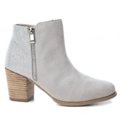 XTI Womens Silver Ice Suede Heeled Ankle Boots