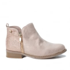XTI Womens Nude Metallic Suede Flat Ankle Boots