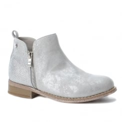 XTI Womens Silver Ice Metallic Suede Flat Ankle Boots 47767