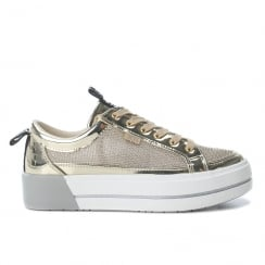 XTI Womens Gold Metallic Flatform Lace Up Shoes