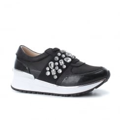 XTI Womens Crystal Stone Elasticated Band Black Trainers Shoes