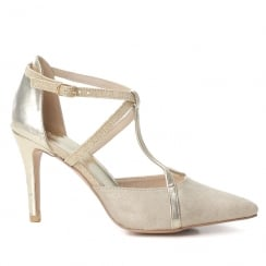 XTI Suede Gold Metallic Straps Gold T-Bar Pointed High Heel