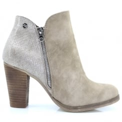 XTI Womens Taupe Block Heeled Ankle Boots