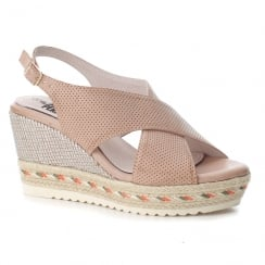 XTI Womens Nude Woven Wedge Slingback Sandals