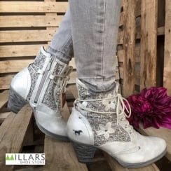 Mustang Women's Silver Grey Low Heel Lace Up Ankle Boot