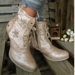 Mustang Women's Bronze Low Heel Lace Up Ankle Boot