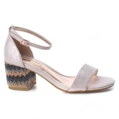 XTI Womens Nude Rhinestone Low Block Heel Ankle Strap Sandals